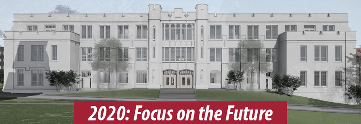 Text overlay- 2020: Focus on the Future over image of the Student Success Center, south facade
